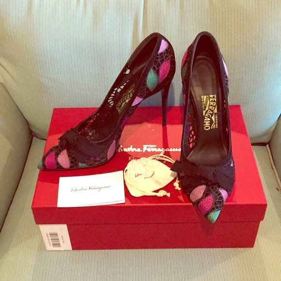 a58fe3e2f6f New Ferragamo suede lace multi color Erin heels 9 NWT